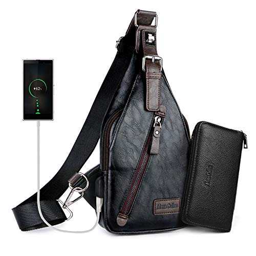 Alena Culian Sling Backpack Men Leather Chest Bag Crossbody Shoulder Bag For Men(black) 1 Fashion Online Shop Gifts for her Gifts for him womens full figure