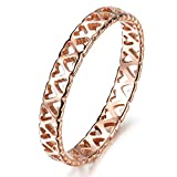MoAndy Women Rose Gold Plated Wedding Ring Heart Love Hollow Engagement For Her