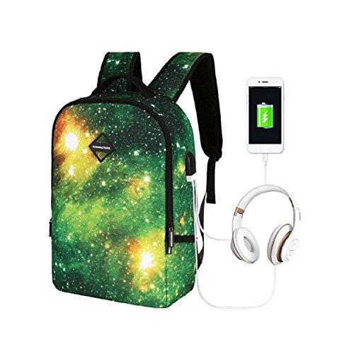 Mochila Escolar, Anime Luminous Elegante Colegio Viaje notebook Bolsas con Carga USB para Teens...