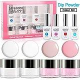 Dipping Powder Nail Starter Kit, French Dip Acrylic Nails Powders System No UV/LED Nail Lamp Needed J760
