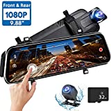 Directtyteam Mirror Dash Cam Backup Camera,1080P HD 9.88' Full Touch Screen Car Rear View Mirror Camera Dual Lens Front Rear Dashcam Video Recorder Parking Monitor,Night Vision Waterproof Rearview (1)