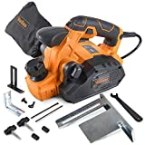 VonHaus 7.5 Amp Electric Wood Hand Planer Kit with 3-1/4' Planing Width and Extra Set of Planer Replacement Wood Blades