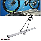 AUTEX 51'' Lockable Aluminum Universal Roof Rack Bike Upright SUV Cross Bar Car Roof Top Mounted Bike Carrier Bicycle Rack