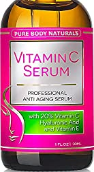 Pure Body Naturals Vitamin C Serum for Face with Hyaluronic Acid