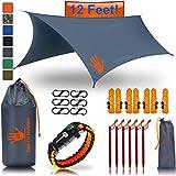 RainFlyEVOLUTION 12 x 10 ft HAMMOCK WATERPROOF RAIN FLY TENT TARP & Survival Bracelet Kit - Lightweight - Backpacker Approved - DIAMOND RIPSTOP NYLON - Perfect Hammock Shelter Sunshade for Camping