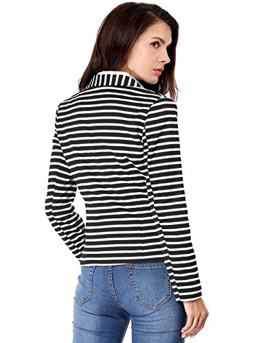 Allegra K Women's Notched Lapel Pocket Button Closure Striped Blazer 18 Fashion Online Shop gifts for her gifts for him womens full figure