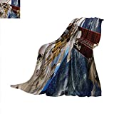 Outer Space Warm Microfiber All Season Blanket International Station Scenery Science Deep Dark Matter Search on Earth Design Warm Microfiber All Season Blanket for Bed or Couch 62'x60' Multicolor
