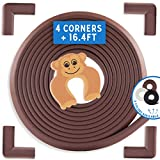 Bebe Earth | Baby Proofing Edge & Corner Guard Protector Set | Safety Bumpers | Child Proof Furniture & Tables | Pre-Taped Bumper Corners (16.4 ft + 4 Corners, Coffee Brown)