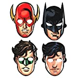 "Adventure Filled Justice League Birthday Party Paper Masks Favours, Multi Colored, Paper, 8 3/5"" x 9 7/10"", 8-Piece"