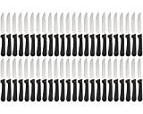 (Set of 48) Seratted-Edge Pointed-Tip Steak Knives, 5-Inch Stainless Steel Blade Steak Knives with Plastic Handles for Restaurants
