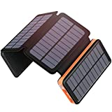 Solar Charger 25000mAh, SOARAISE Power Bank with 4 Solar Panels and Type-C Port Waterproof Battery Pack for Smartphone, Tablet and Camping