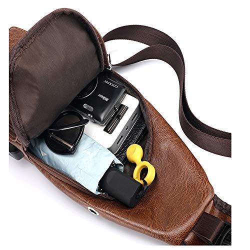 Men Shoulder Crossbody Sling Bag, PU Leather Chest Backpacks Crossbody Daypacks with USB Charging Port for Outdoor Activities (Light Brown) 7 Fashion Online Shop gifts for her gifts for him womens full figure