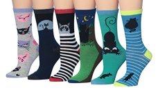 Tipi-Toe-Womens-6-Pairs-Fun-Funky-Fashion-Crew-Animal-Cat-Socks-sock-size-9-11-Fits-shoe-size-5-9-WC51-B