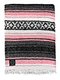 luxvie Mexican Blanket Designs: Authentic Large Falsa Blanket Ideal Outdoors, Camping, Yoga, Home Decor, Beach, Etc. in Soft Acrylic Blend Multiple Colors (Pink)