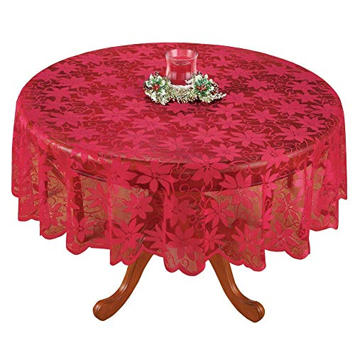 Asunflower Holiday Tablecloths Round 70' x 70' Red with Engineered Jacquard Modern Christmas Table Cloths Cover