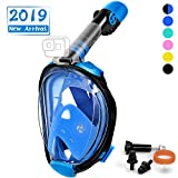 OUSPT Full Face Snorkel Mask, Snorkeling Mask with Detachable Camera Mount, Panoramic 180° View Upgraded Dive Mask with Newest Breathing System, Dry Top Set Anti-Fog Anti-Leak (Blue, S/M)