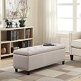 Belleze 48' Rectangular Storage Fabric Ottoman Bench Tufted Footrest, Large, Natural
