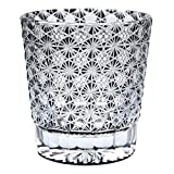 Crystal Double Old Fashioned Bar Glass 8.8oz Edo Kiriko Eternal Flower Design Cut Glass - Black [Japanese Crafts Sakura]