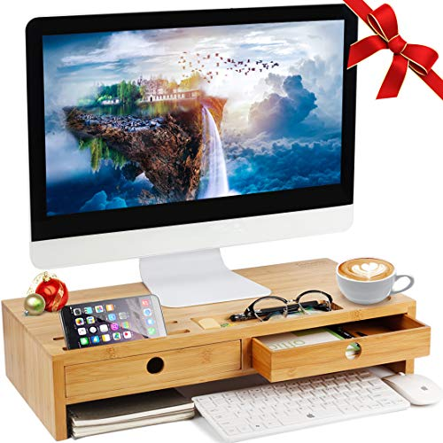 Monitor Stand Riser with Drawers, Desktop,Laptop Stand Riser with Keyboard Storage Space for Home & Office Use by Ecobambu
