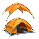 McWay Automatic Camping Tent - Instant Hydraulic Pop up Tent - Waterproof 3 Person Tent 2 in 1 w/Sun Shelter Portable & Lightweight (Orange)