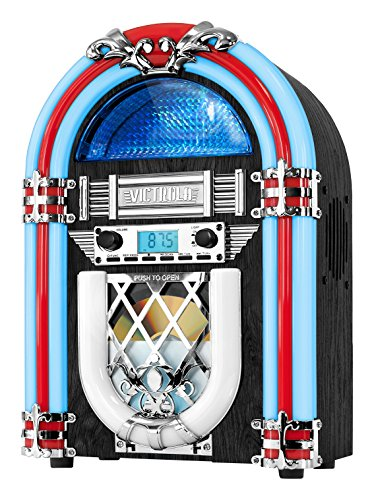 Victrola Retro Desktop Jukebox with CD Player, FM Radio, Bluetooth, and Color Changing LED Lights, 15-Inch Tall