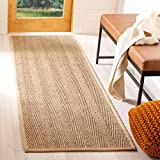 Safavieh Natural Fiber Collection NF115A Herringbone Natural and Beige Seagrass Runner (2'6' x 14')