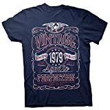 40th Birthday Gift Shirt - Vintage Aged to Perfection 1979 - Navy-003-Lg