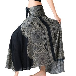 Bangkokpants Women's Long Hippie Bohemian Skirt Gypsy Dress Boho Clothes Flowers One Size Fits Asymmetric Hem Design 18 Fashion Online Shop gifts for her gifts for him womens full figure