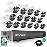 【More Stable】 16 Channel Video Surveillance System SMONET 5-in-1 5MP Security Camera Systems(2TB Hard Drive), 16pcs 1080P Indoor Outdoor Home Security Cameras,DVR Kits with Night Vision,Remote View