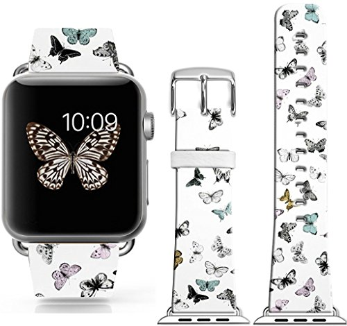 Band for Iwatch Bands 38mm,38Mm Leather Strap Wrist Band Replacement W Silver Metal Clasp Compatible for Apple Watch 38mm Series 1 Series 2 Series 3 - Beautiful Colorful Butterflies Girly Design