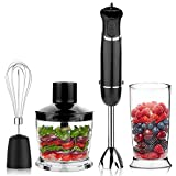 OXA Smart Quiet 800W 12-Speed 4-in-1 Immersion Hand Blender Set Includes Food Chopper, Egg Beater and Beaker, PP Slip-proof Ergonomic Grip Detachable, Comfortable Silicone Button, Anti-Splash, Black