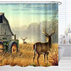 Farmhouse with Deer Shower Curtain