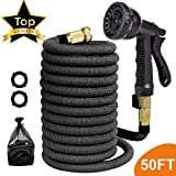 Garden Hose Expandable No-Kink Patio Hose with Heavy Duty Triple Latex Pipe, 3/4' Solid Brass Fittings with 8 Spray Patterns for Car, Patio Washing (Spray Nozzle Included) (50FT)