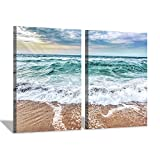 Hardy Gallery Beach & Seashore Wall Art Print: Coastal Blues Artwork Painting on Canvas Decor Picture for Bed Room (24'' x 18'' x 2 pcs)