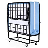 Inofia Foldable Folding Bed, Rollaway Extra Guest Bed with 5 Inch Memory Foam Mattress and Portable Metal Frame on Wheels - Easy Storage - Space Saving - Twin Size - 75'' x 38''