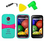 Heavy Duty Hybrid Phone Cover Case Cell Phone Accessory + Screen Protector + Extreme Band + Stylus Pen + Pry Tool For Straight Talk Tracfone NET10 Motorola Moto E XT830C (S-Hybrid Teal Pink)