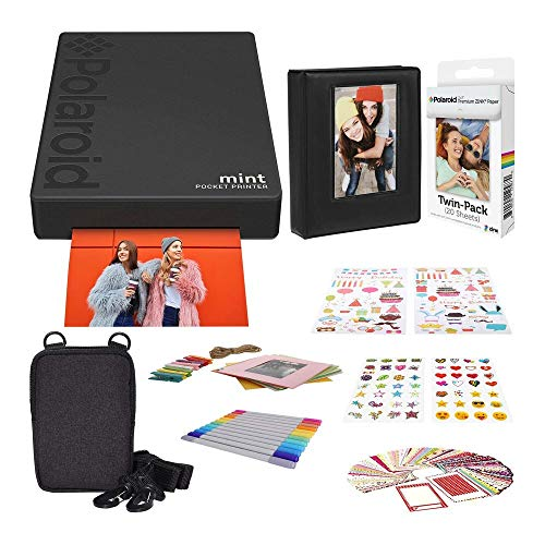 Polaroid-Mint-Pocket-Printer-Black-with-2x3-Premium-Photo-Paper-20-Pack-Soft-Camera-case-Zink-Paper-Unique-Colorful-Stickers-Photo-Album-Accessories