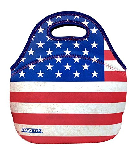 KOVERZ - #1 Neoprene Lunch Bag, Lunch Tote - CHOOSE YOUR STYLE! - American Flag