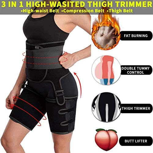 DAWNDEW Waist Trainer for Women, 3-in-1 Waist and Thigh Trimmer Butt Lifter-Weight Loss Slimming Body Shaper Belt, Adjustable Hip Enhancer, Hips Belt Trimmer Body Shaper Workout Fitness Training 6