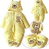 EGELEXY Newborn Baby Clothes Girls Boys Romper Winter Jumpsuit Thicken Cotton 0-3M Yellow