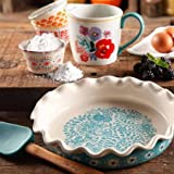 The Pioneer Woman Flea Market Decorated 9 Ruffle Top Pie Plate and 2.3-Quart Ruffle Top Bakeware