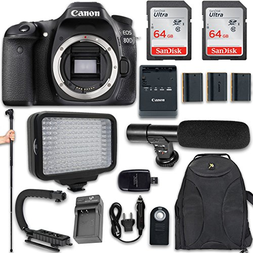 Canon EOS 80D DSLR Camera (Body Only) + 120 LED Video Light + Large Monopod + 128GB Memory + Shotgun Microphone + Camera & Flash Grip Handle Stabilizer