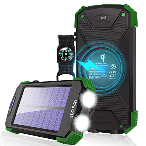 Solar-Charger-10000mAh-Solar-Power-Bank-Qi-Wireless-Charger-Portable-Charger-for-iPhone-External-Battery-Pack-Dual-Flashlight-Compass-Solar-Panel-Charging-for-Outdoor-Camping-by-LEO-WAY-Green