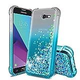 Samsung Galaxy J3 2017 Case,Galaxy J3 Emerge/J3 Prime/J3 Eclipse/J3 Mission/Express Prime 2/J3 Luna Pro/Amp Prime 2/Sol 2 Phone Case,TPU Glitter Liquid Quicksand Protective for Girls Women-Teal