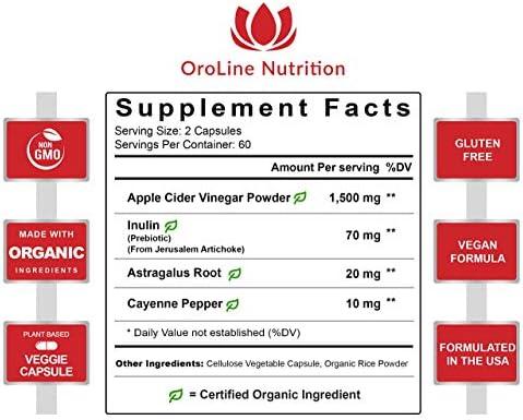 Organic Apple Cider Vinegar Capsules (120 Capsules | 1500 mg) with Prebiotics | Apple Cider Vinegar Pills | Fiber Supplement for Immune Support & Gut Health 4