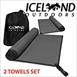 Iceland Outdoors Camping Towel Microfiber Towel for Body - Quick Dry Camping Towel Set for Hiking Travel Camp Backpacking - Soft Super Absorbent Free Carry Bag