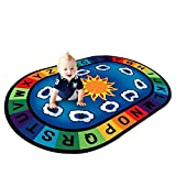 USTIDE Vibrant Alphabet Educational Playroom Rug on Blue 3'9X5'2 Oval Theme Rug for Kids Children
