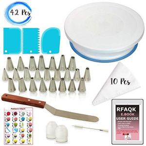 RFAQK 64 Pcs Cake Decorating Supplies Kit With Cake Turntable, Cake Leveler, 24 Numbered Piping Tips with Pattern Chart & eBook, Straight & Offset Spatula, 30 Icings Bags, 3 Icing Smoother Scraper Set 51dWbXINI6L