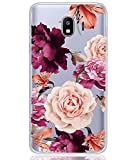 BAISRKE Galaxy J4 2018 Case, Galaxy J4 Case with Flowers Slim Shockproof Clear Floral Pattern Soft Flexible TPU Back Cove for Samsung Galaxy J4 2018/J400 [Purple Flowers]