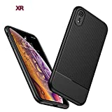 iPhone XR Case,DAMPO Carbon Fiber Texture TPU Ultra Thin Flexible Cover Premium Soft Silicone Dustproof Cover Shockproof Anti-Scratch Cover for Apple iPhone XR (6.1')-Black